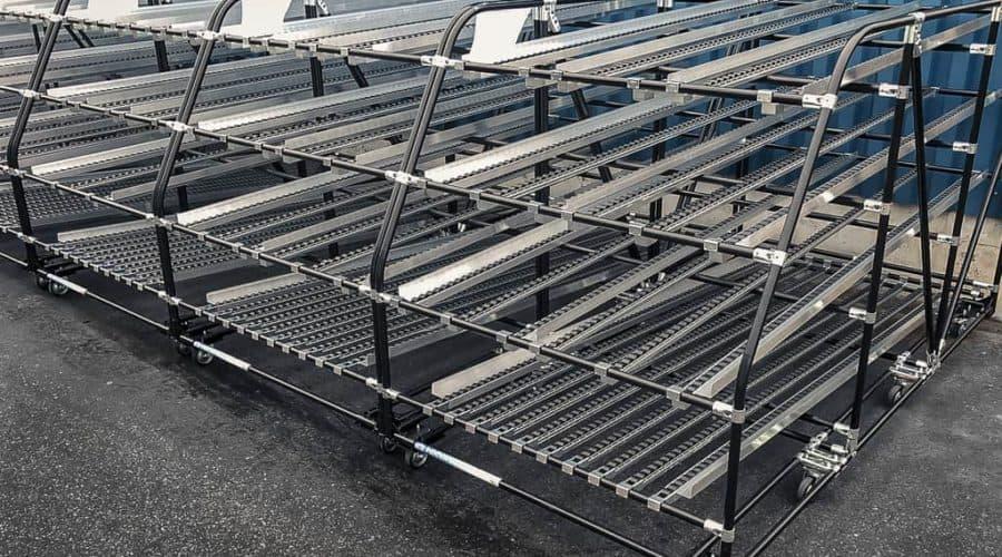 Nuestros caminos de rodillos dinámicos ofrecen la posibilidad de utilizar el espacio disponible en su almacén o zona de producción de la mejor manera