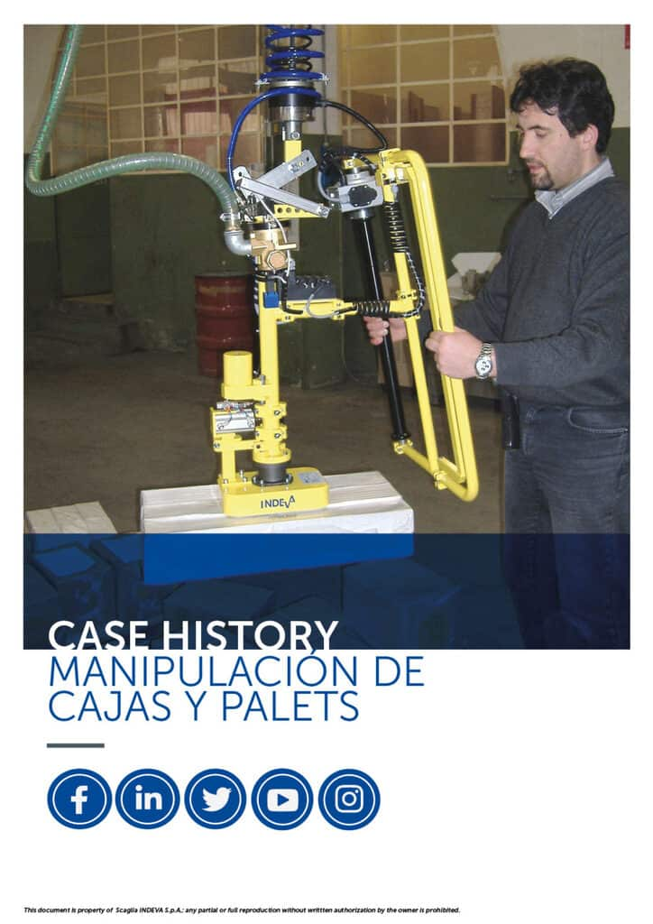 manipulación de cajas y palets con manipuladores para aumentar la ergonomía y la seguridad en la empresa.