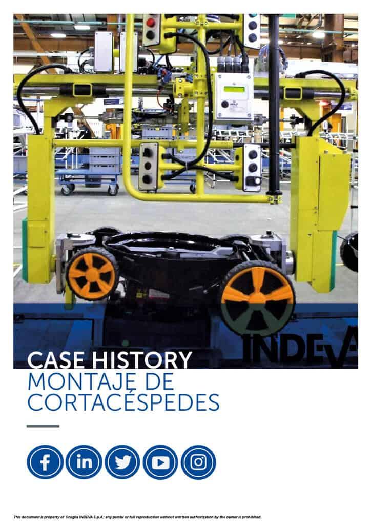 Casos prácticos de Indeva: montaje de cortacéspedes de forma segura y precisa, aumentando la productividad durante el ciclo de trabajo de la empresa.