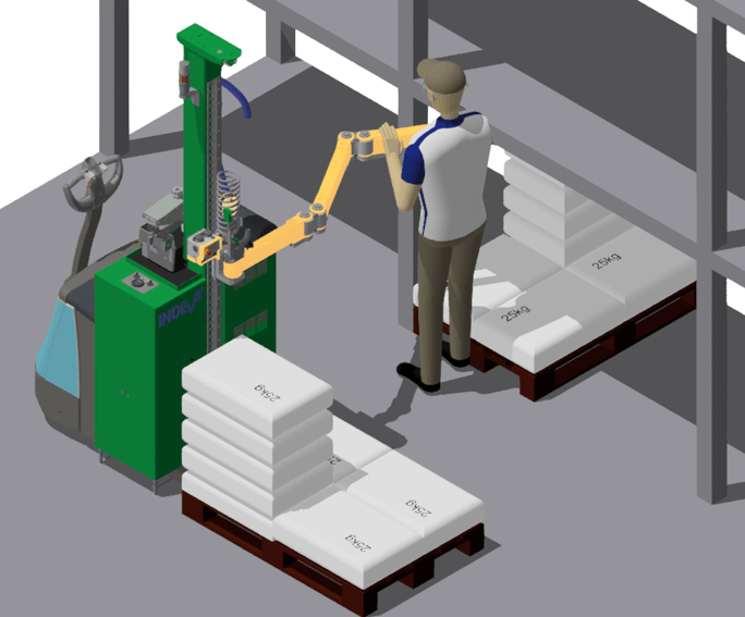 El manipulador móvil para manipular cargas en el almacén