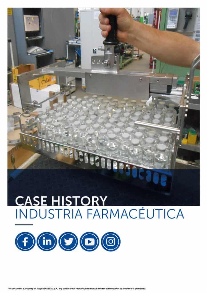 Casos prácticos de INDEVA: manipulación de artículos en la industria farmacéutica en total ergonomía y seguridad, aumentando la productividad.